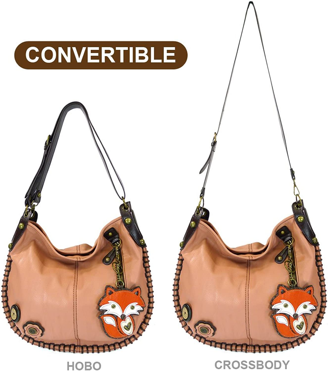 Chala Hobo Crossbody Large Tote Bag FOX Vegan leather PINK Congreenible