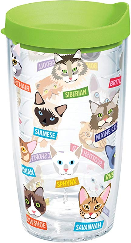Tervis 1217077 Flat Art Cats Tumbler With Wrap And Lime Green Lid 16oz Clear