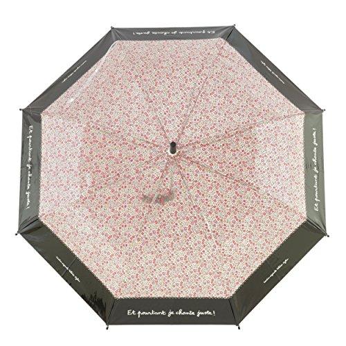 Parapluie Droit en Toile PVC Rose et Noire avec l'imprimé Et pourtant, Je Chante Juste - Système d'ouverture Automatique - Large Protection avec Un Diamètre de Plus d'1 Mètre - Derrière la porte