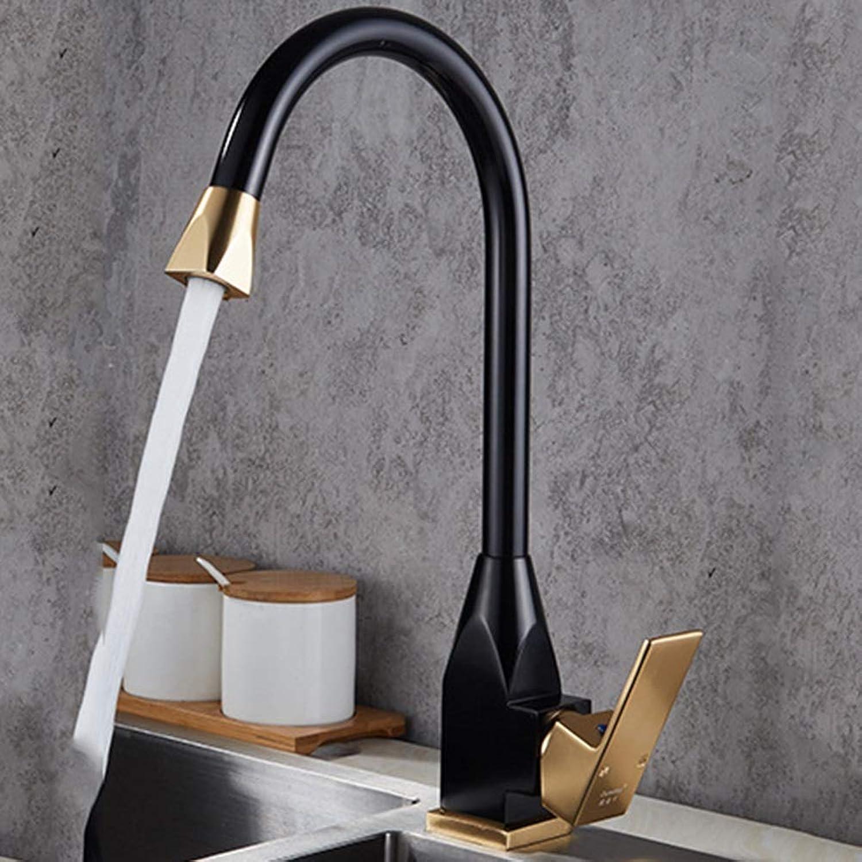 Space Aluminum Household Kitchen Faucet (color   BLACK)