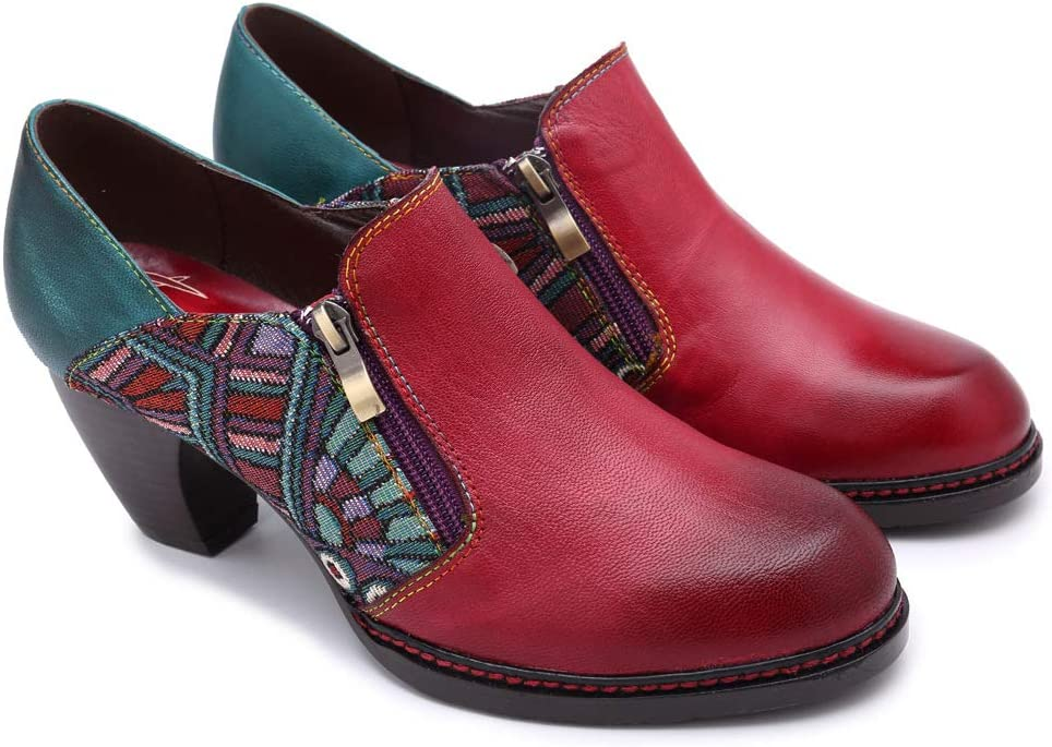 Splice Retro Women Leather Shoes Lady schoenen handgemaakte schoenen Block Heel Shoes Outdoor Walking Show Casual Non Slip Soft EU36