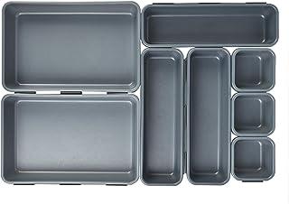 TIMESETL 8 pièces Organisateur de tiroir, Rangement de boîtes de Plateau en Plastique empilables pour tiroirs, Bureau, Cui...