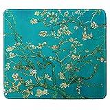 Tappetino per il mouse, piccolo, con bordi cuciti, motivo 'Van-Gogh', motivo mandorla in fiore