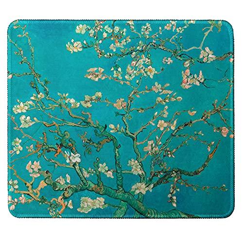 Alfombrilla de ratón pequeña, con bordes cosidos, diseño de almendro en flor de Van-Gogh.