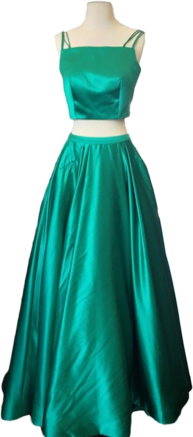 Alilith.Z Sexy Spaghetti Strap 2 Piece Bodice Satin Long Prom Dresses Evening Party Dresses For Women With Pockets