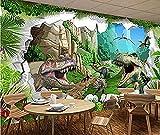 Antiguo Dinosaur Times 3D TV Sofá Restaurante Pared Mural grande Papel verde Pared Pintado Papel tapiz 3D Decoración dormitorio Fotomural sala mural-350cm×256cm