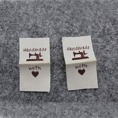 Hongma 50 Stück Handmade Stoff Labels Tags Kleideretiketten Rechteck Nähen DIY Dekor