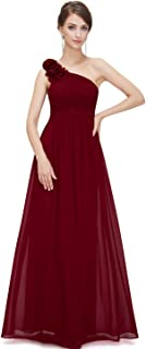 Flower One Shoulder Long Bridesmaids Evening Party Dress 08237