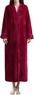 DGGLIFE Women's Fleece Robe Bathrobe Flannel Texture Warm Long Sleepwear