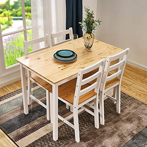 Panana Wooden Pine Dining Table with 4 Chairs in Choice of Colors Dining Room Furniture Set (Natural Pine)