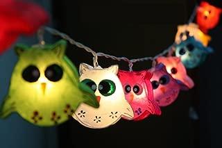 LED Batterry Operated Indoor Night Lights Owl Lamp Hanging Lights for Childern Bedroom Decoration 20 Lights/set