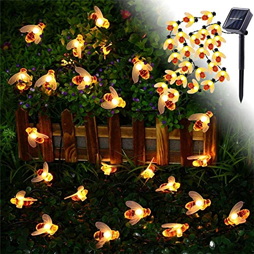 XTDGN Solar String Lights, 8 Modes Solar Bee Fairy Lights, Christmas Tree Ornaments, Waterproof Outdoor String Lights for Garden, Patio, Gate Yard, 4 Choose,7M 50LED