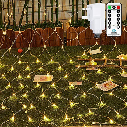 Ollny Outdoor Net Lights Garden Mesh Lights,200 Led 3m x 2m Fairy Light Net Lights Mains Powered Warm White Net Lights with Remote & Timer for Indoor Curtain Bedroom Christmas Holiday Decorations