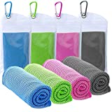 """TowelTouch 40""""x12"""" Cooling Towel Workout, Gym, Fitness, Golf, Yoga, Camping, Hiking, Bowling, Travel, Outdoor Sports Towel for Instant Cooling Relief (4 Packs)"""