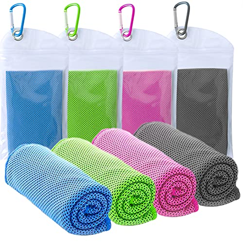 TowelTouch 40'x12' Cooling Towel Workout, Gym, Fitness, Golf, Yoga, Camping, Hiking, Bowling, Travel, Outdoor Sports Towel for Instant Cooling Relief (4 Packs)