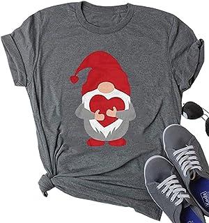 عيد الحب قنومز طباعة قمصان النساء لطيف الحب القلب جنوم الجرافيك تي شيرت قصيرة الأكمام عارضة عطلة بلايز