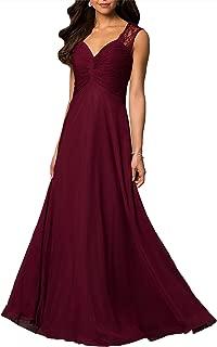 Aofur Womens V Neck Chiffon Casual Maxi Dress Wedding Evening Gowns Summer Sleeveless A-Line Party Long Skirt