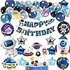 宇宙パーティーバルーン、60PCSバースデーパーティーデコレーションユニバーススペーステーマ用品宇宙飛行士バルーン、ハッピーバースデーバナースペースバースデーパーティー用品ハロウィーン、クリスマス、新年