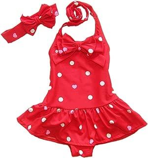 Baby Girls One Piece Swimsuits Beach Wear with Headband