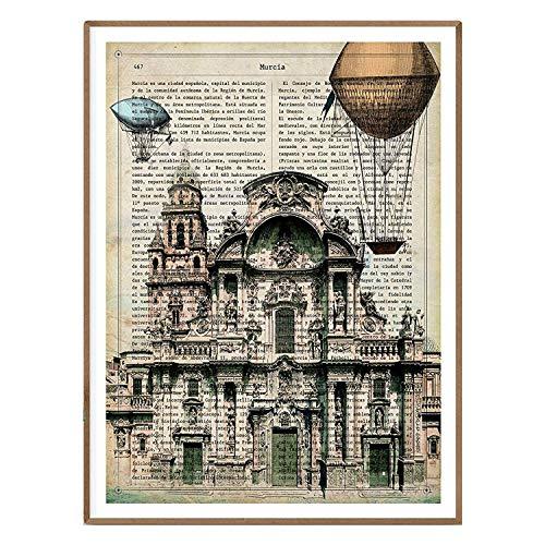 Nacnic Lámina Ciudad de Murcia con la Historia DE Murcia. Poster tamaño A4 Impreso en Papel