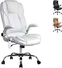 Artiss 8 Point Massage Executive Office Computer Chair PU Leather High Back Adjustable Height Amber Armchair White
