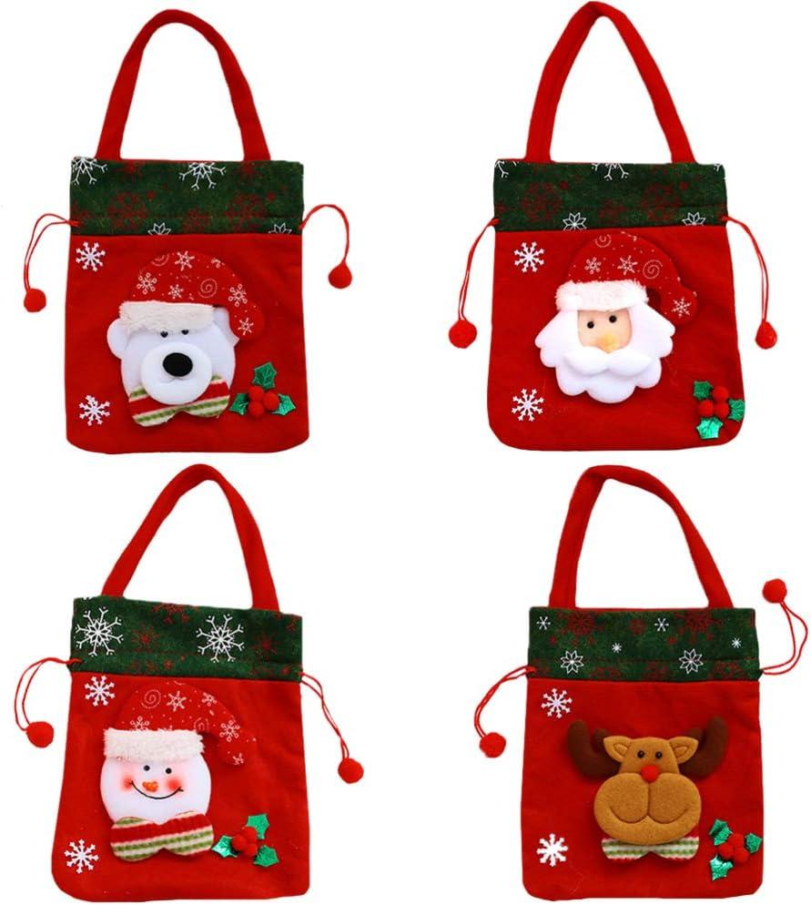 HEMOTON 4 Pcs Christmas Denver Mall Bags Max 78% OFF Treat Candy Christm