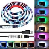 iluminacion para hdtv, caja de la computadora de luz LED, Makion 100cm multicolor 30leds flexible 5050 RGB LED USB luz de tira con 5v cable del USB y mini regulador para TV / PC / portátil de i