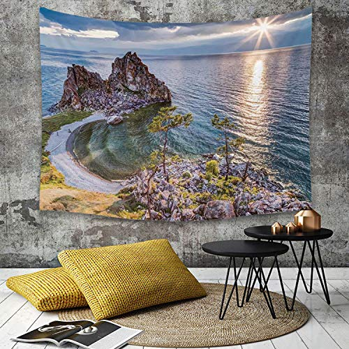 Tapestry,Hippie Tapiz,tapiz de pared con decoración para el hogar,Decoración de viaje, Shaman Rock Lago Baikal en Rusia Tema costero Rayos,para picnic Mantel o Toalla de Playa redonda 150 x 200 cm