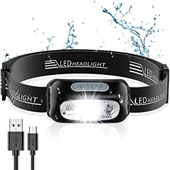 Cocoda Stirnlampe mit Gestensensor, Ultrahelle Wiederaufladbare LED Kopflampe, 160 Lumen, Wasserdichtes IPX6, 4 Helligkeiten, Einstellbarer Stirnlampe USB fürs Laufen, Joggen, Angeln, Camping