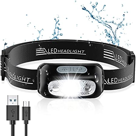 Cocoda Lampe Frontale, Headlamp USB Rechargeable Puissante - 160 LM, Détecteur de Mouvement, IPX6 Étanche, 4 Modes d'Éclairage pour Camping Bricolage