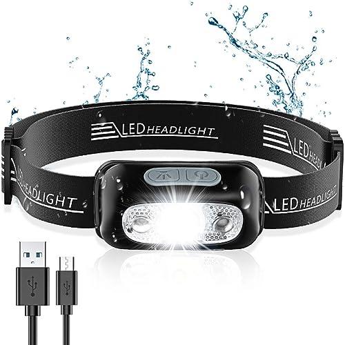 Cocoda Lampe Frontale, Headlamp USB Rechargeable Puissante - 160 LM, Détecteur de Mouvement, IPX6 Étanche, 4 Modes d'...