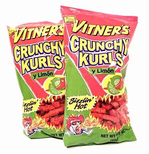 Vitner's Sizzlin' Hot Crunchy Curls Y Limon Lime Flavored A Chicago Snack 2 3oz Bags