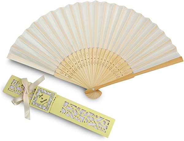 DorisHome 50pcs Ivory White Silk Bamboo Handheld Folded Fan Personalized Wedding Favor Fan With Light Yellow Laser Cut Gift Box For White Bridal Gift Party Favors With Customize Names FAN01 50INAME
