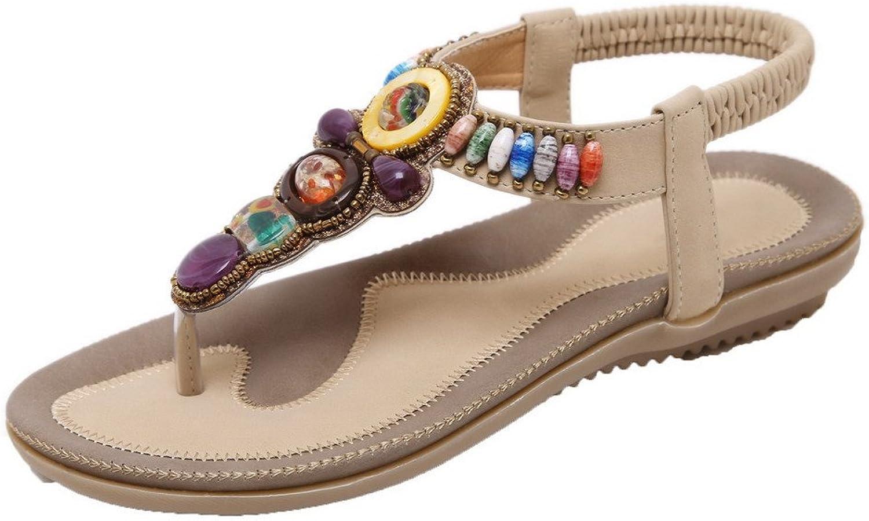 AmoonyFashion Women's Assorted color PU Low-Heels Elastic Split-Toe Sandals