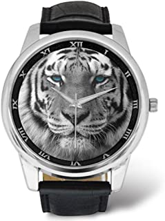 Men's Watches Design White Tigers with Blue Eyes,Leather Strap Black Band