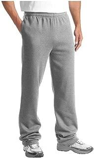 Men's Fleece Sweat Pants, Elastic Waistband/Drawstring, Cuffed/Open Bottom Sweatpants with Side Pockets