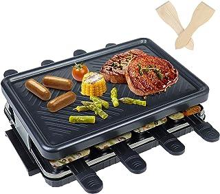 Appareil a Raclette- Machine a Raclette 8 Personnes Traditionnel avec Revêtement Anti-Adhésif Plaque de Cuisson 8 Poelon R...