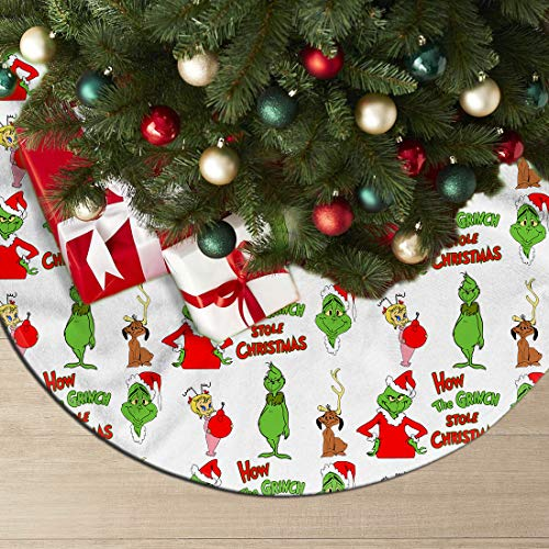 AkanaRika The Grinch Stole Christmas Christmas 36 Inch Tree Skirt for Xmas New Year's Eve Party Outdoor Decorations Polyester 36 Inch