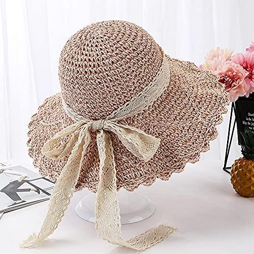 Linckry Sombrero Plegable de Ganchillo para Mujer, Plegable, de ala Ancha, Enrollable, Paja, Verano, Playa, Visera, Gorra con Lazo, Sol de Verano, Plegable, Plegable