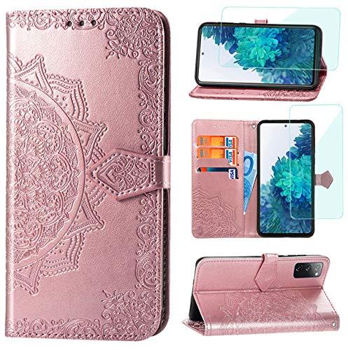Yohii Funda para Samsung Galaxy S20 FE/ S20 FE 5G/ S20 Lite + Protector de Pantalla, Libro Caso Piel PU Soporte Plegable Ranuras Cartera con Tapa Tarjetas Magnético Cuero Flip Carcasas - Oro Rosa
