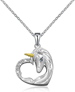 ACJNA 925 Sterling Silver Unicorn Pendant Necklace Gifts...