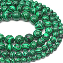 Oameusa 6mm Synthesis Malachite Beads Round Beads Gemstone Beads Loose Beads Agate Beads for Jewelry Making 15