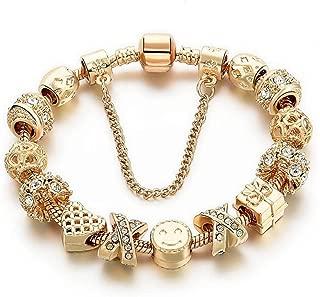 Charm Bracelets for Women Gold Plated Snake Chain Heart Shape Smile Rhinestone Beads Charming Girls Mom Gift
