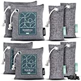 HOUSE EDITION Bamboo Charcoal Air Purifying Bag 8-Pack–Naturally Freshen Air with Powerful Charcoal Bags Odor Absorber – Kid and Pet-Friendly Air Fresheners for Home or Car, 2x200g, 2x100g, 4x50g