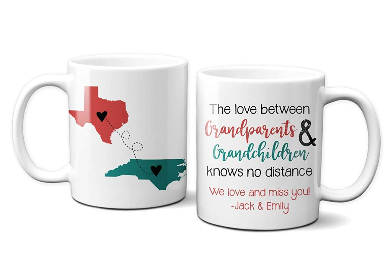 Grandparent Two State Mug | Personalized Grandparent Mug | Long Distance Grandparent Gift | Grandparent Mug | Gifts for Grandparents | Grandma Gift | Grandpa Gift | 11 oz or 15 oz