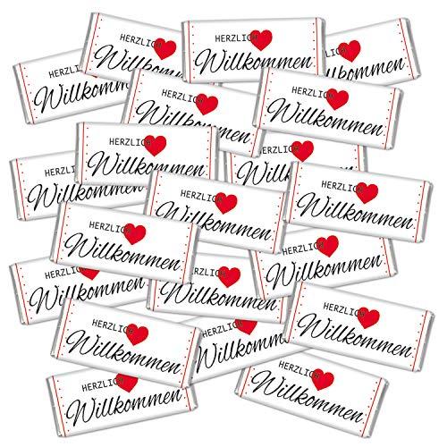 Tischdeko 20 mal Mini Schokolade give away Gastgeschenk Hochzeit süß Herzlich Willkommen STEINBECK Minitafeln 20er Set Geschenk Mitgebsel Party Essen Fest Deko Dekoration Herz Betthupferl