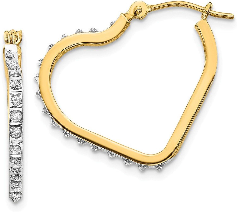 Beautiful Yellow gold 14K Yellowgold 14k Diamond Fascination Heart Hinged Hoop Earrings