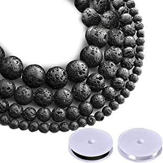 Paxcoo 500pcs Lava Beads Black Lava Rock Beads Kit with Elastic String for Essential Oils Adult Jewelry Making Supplies Br...