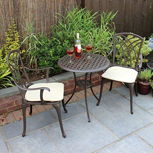 Charles Bentley Furniture 3 Piece Cast Aluminium Bistro Set Table & 2 Arm Chairs