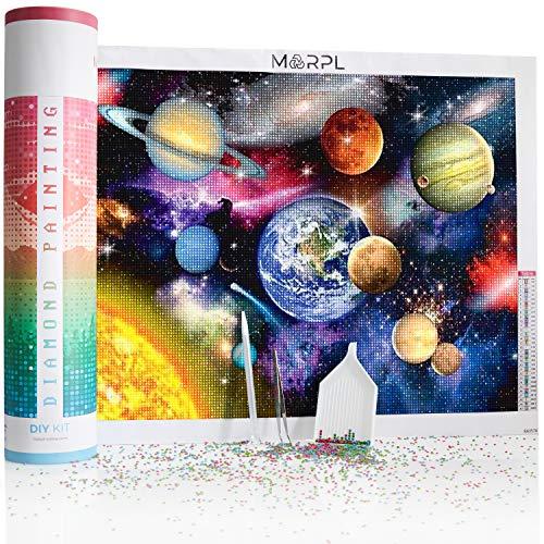 Marp® Diamond Painting XXL [Kit DIY] – Diseño de planetas en set de regalo – pintura de diamante 5D con lunares redondos y accesorios